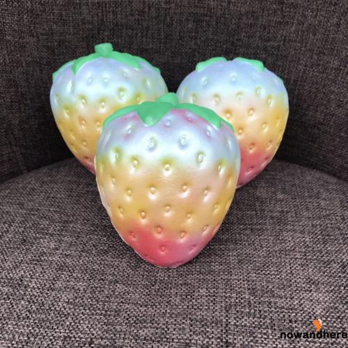 NEV-1PC Fun Rainbow Strawberry Squishy Super Jumbo Scented Slow Rising Rare Toy