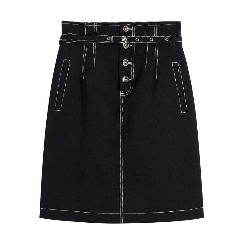 Chân váy chữ A 2021 lưng cao nút bạc