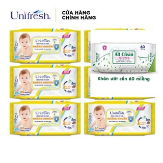 Khăn ướt em bé Unifresh Vitamin E và Nha đam 80 tờ khăn ướt diệt khuẩn All clean thumbnail