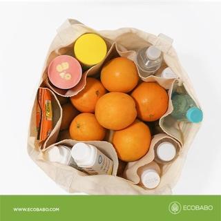 Túi đi chợ vải bố ecobabo phân ngăn tiện dụng