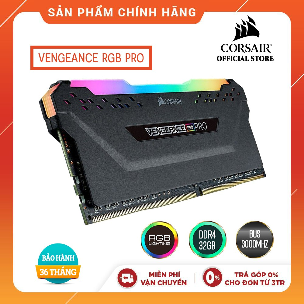 Ram Corsair RGB 32GB (2x16GB) Bus 3000Mhz C16 (CMW32GX4M2D3000C16)