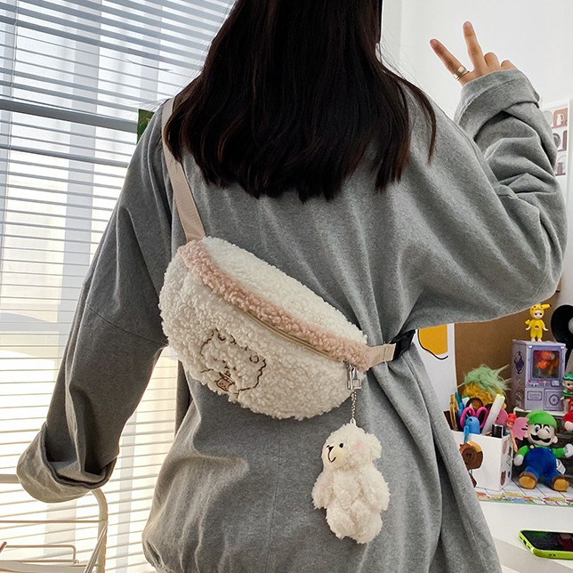 Túi Đeo Chéo Ngực Vải Len Lông Cừu Họa Tiết Gấu Hoạt Hình Kiểu Nhật Bản Dễ Thương