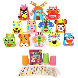 Set 12 cốc giấy và hình trang trí cho bé