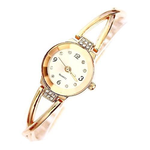 Đồng hồ hợp kim đính đá màu vàng hồng cho nữ
