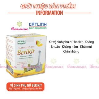 Bộ thụt rửa vệ sinh phụ nữ Berikit kèm 15 gói muối - dung dịch vệ sinh phụ khoa rửa sâu - của dược Cát Linh 6
