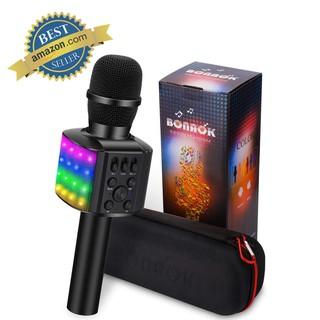 Microphone Karaoke Portable Bluetooth Không Dây Loa Speaker Đèn Led 4 in 1 cho Máy Hát Android IOS PC Tablet Bonaok