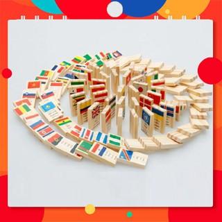 Bộ Domino 100 cờ (quốc kỳ) bằng gỗ 4 thứ tiếng Hàn, Trung Q