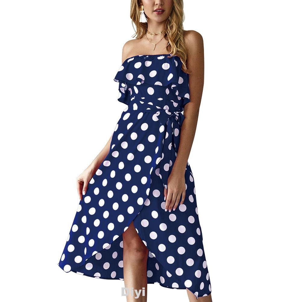 Beach Casual Fashion Flounce Off Shoulder Party With Belt Summer Polka Dot Women Dress