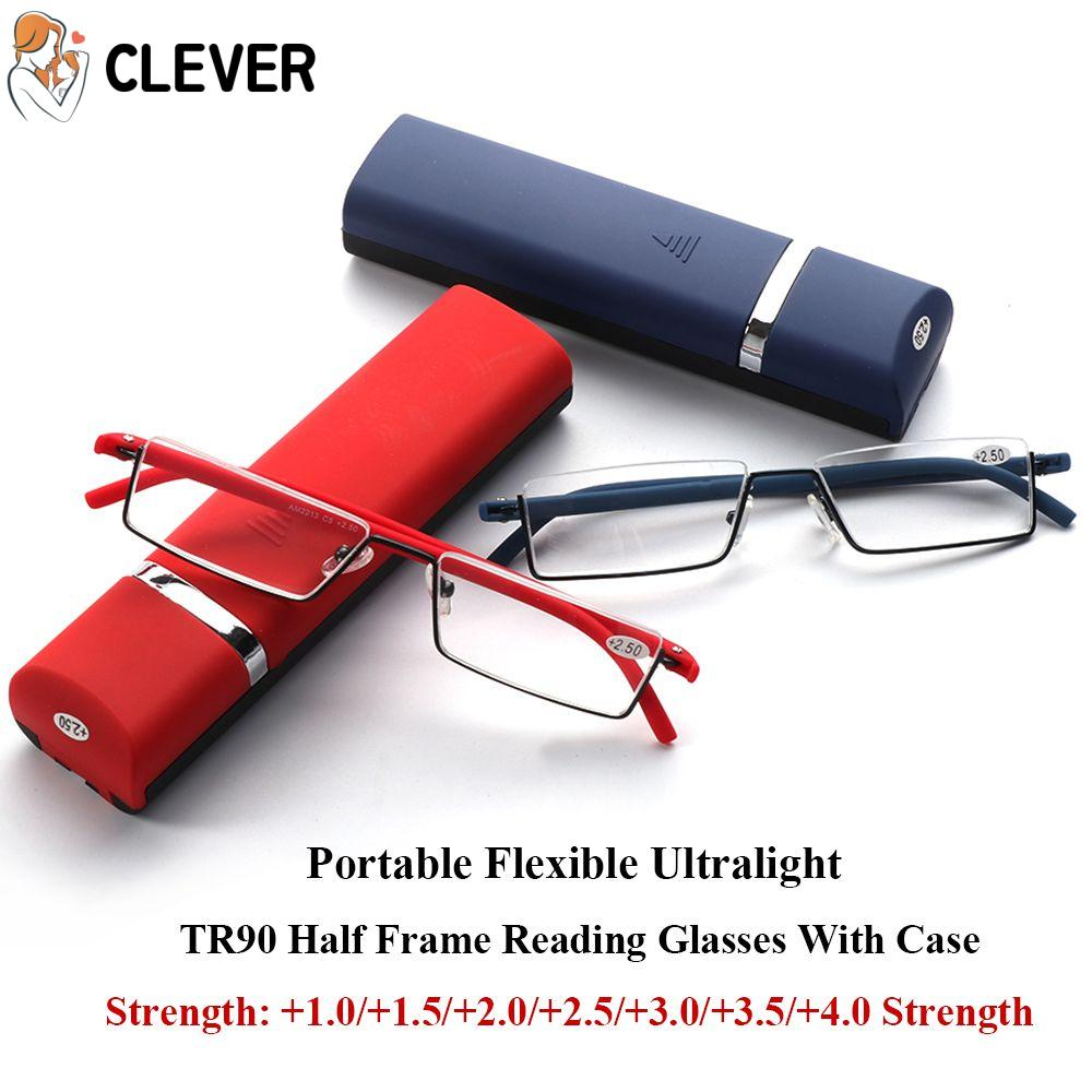 CLEVER Vision Care with Case Ultralight Portable TR90 Reading Glasses