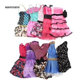 ☼WT 10 in 1 Fashion Handmade Mini Dresses Clothes for Toy Dolls Style Random Gift
