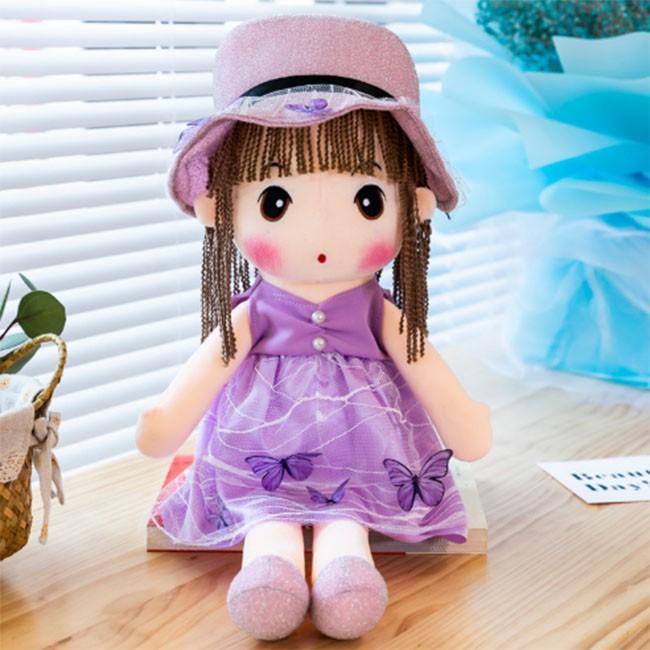 Búp Bê Vải Bông Phong Cách Hàn Quốc 45cm ( Màu Hoa Tím )