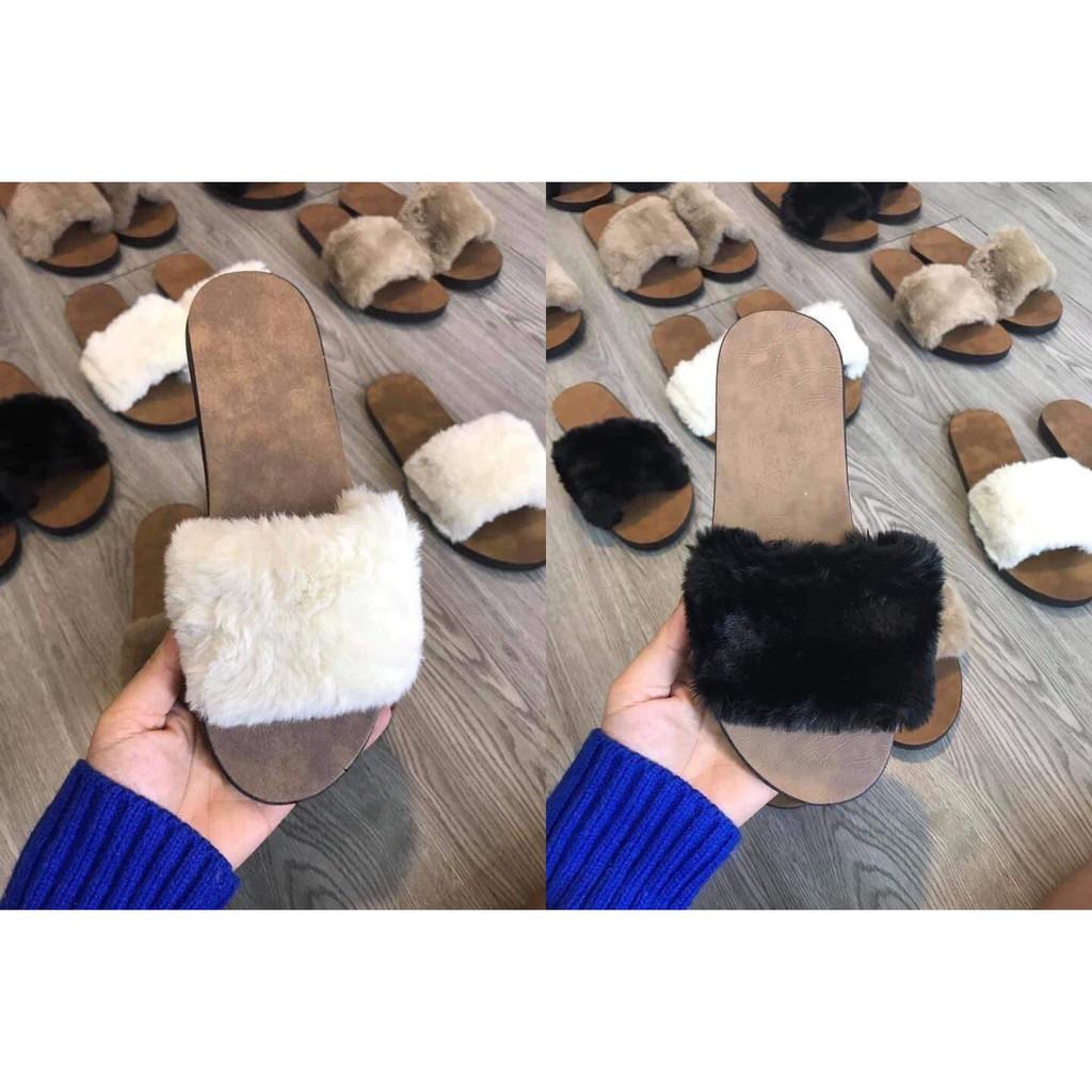 2F02 Dép lông quai ngang dép bông đi trong nhà thời trang đế cao su đi chơi fom nhỏ nên mua tăng 1 size giầy thể thao nữ