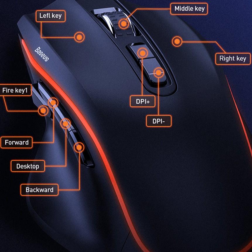 [Mã ELMALLCOIN hoàn 8% xu đơn 499K] Chuột chơi Game 9 nút bấm lập trình BASEUS GAMO GM01 Gaming Mouse