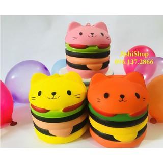 Hambuger bánh mèo, Squishy bánh mèo (Ảnh thật) mã số sku LK9965 Ysỉ