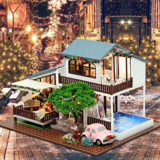 Kèm mica + cót nhạc + xe – Mô hình nhà gỗ búp bê dollhouse DIY – A039 London Holiday