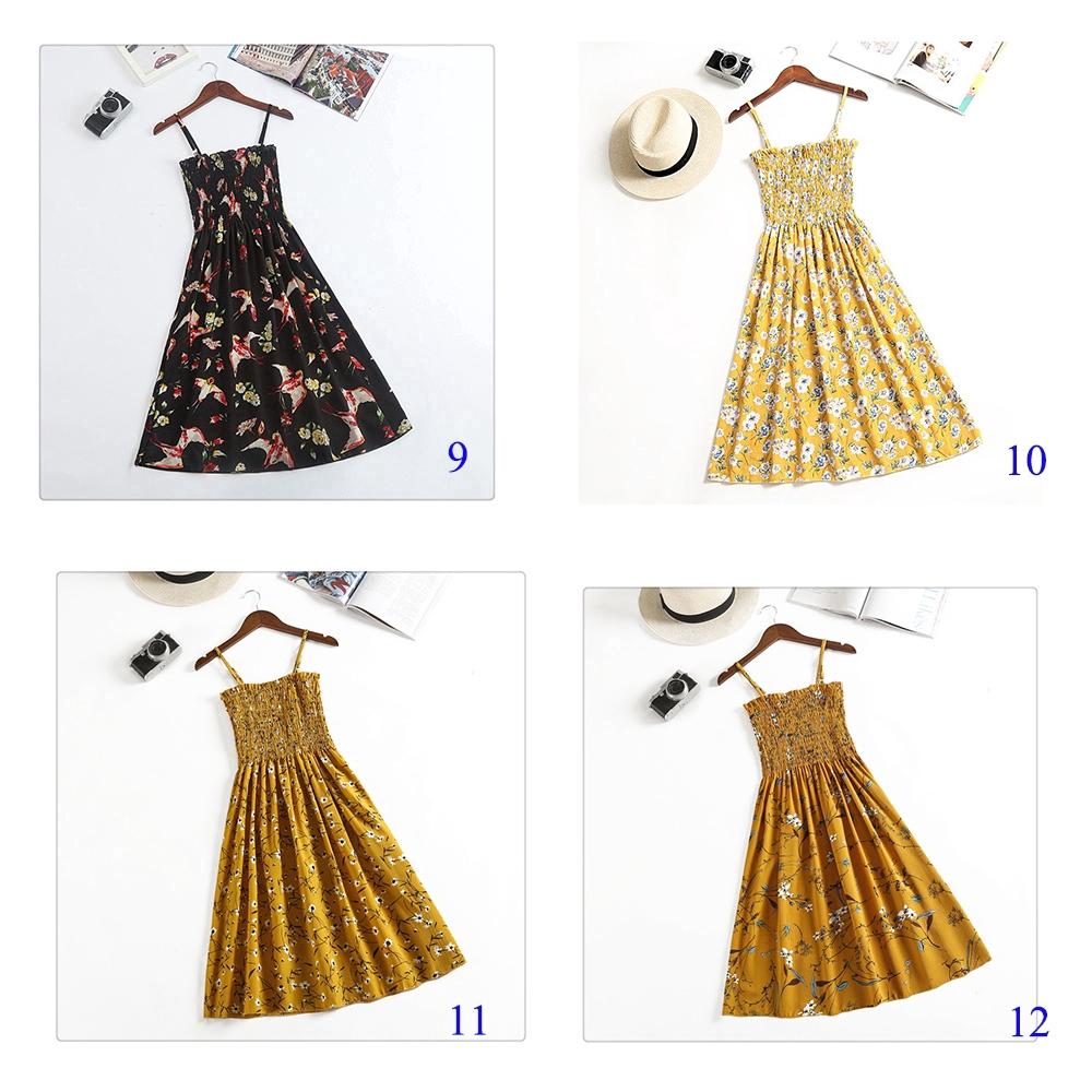 Đầm Chiffon Xếp Li In Họa Tiết Phong Cách Bohemian