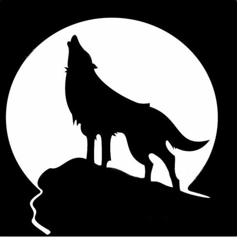 Tem Decal dán nắp xăng hình sói hú dưới đêm trăng