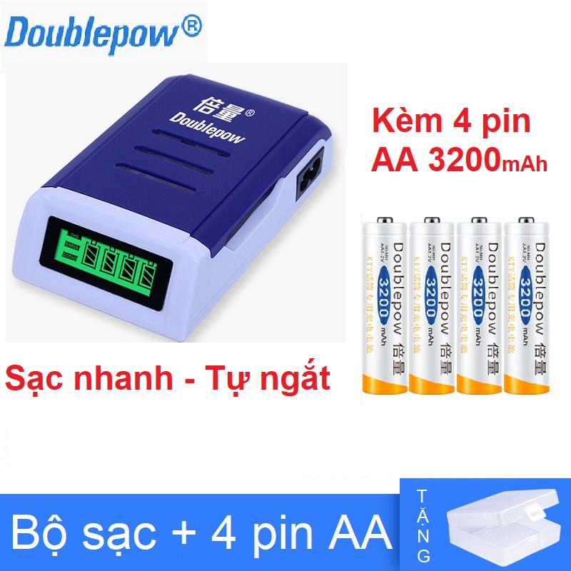 Bộ Sạc Pin AA, AAA K98/ K209 Doublepow Tự ngắt khi đầy Tốc Độ Cao Màn Hình LCD Tặng kèm pin sạc AA 3200mAh