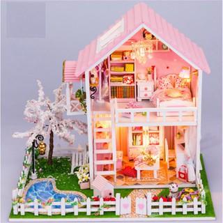 Mô hình nhà gỗ Ngôi nhà trong mơ kèm mica che bụi