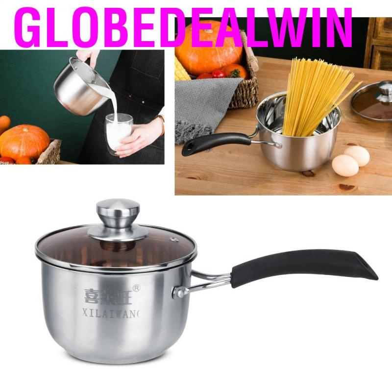 Household Kitchen Stainless Steel Insulation Handle Soup Noddles Pot with Glass Lid