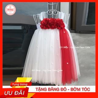 Đầm cho bé ❤️FREESHIP❤️ Đầm công chúa trắng hoa hồng đỏ dải đỏ