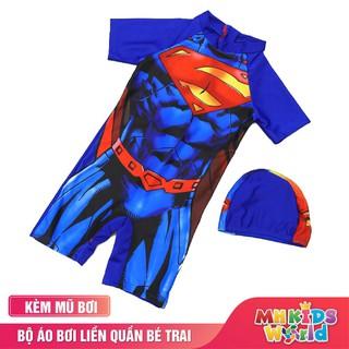Đồ bơi cho bé trai từ 3-9 tuổi, áo bơi liền quần hình siêu nhân, người dơi, đội trưởng Mỹ
