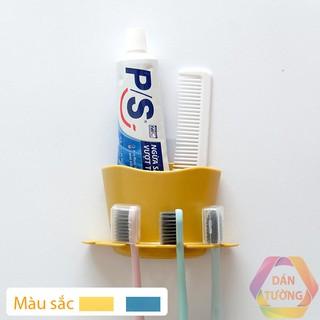 Kệ bàn chải đánh răng dán tường nhà tắm MDT với 4 khe cắm bàn chải và 1 hộp để kem đánh răng tiện lợi _K47