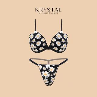 Bộ đồ lót sexy gợi cảm không gọng mút vừa nâng ngực màu đen chất cotton họa tiết hoa cúc KRYSTAL Bralette KSB10 thumbnail