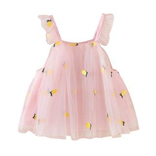 Đầm xòe màu trơn thêu họa tiết hình dứa thời trang mùa hè cho bé gái