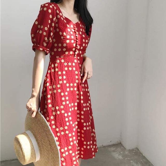 Váy tiểu thư Vintage tay phồng
