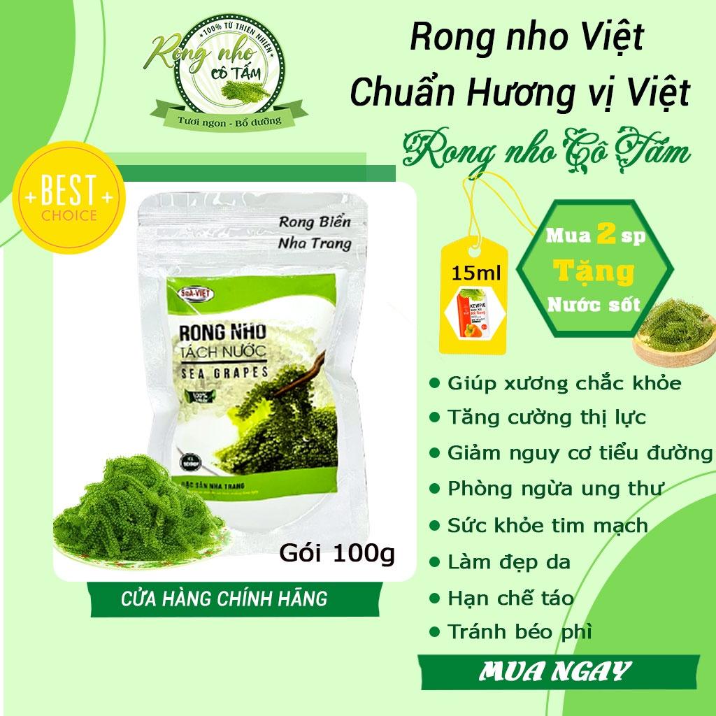 Rong nho Sea Việt, đặc sản Việt - Túi zipper 100g , rong nho tách nước, rồng nho (mua 2 tặng sốt)