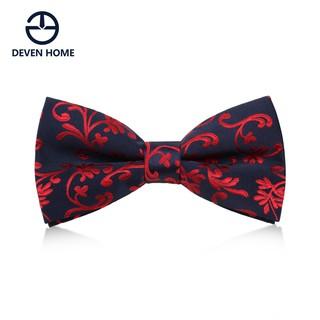 Devenhome men's business tie, groom wedding banquet accessories, navy blue red p