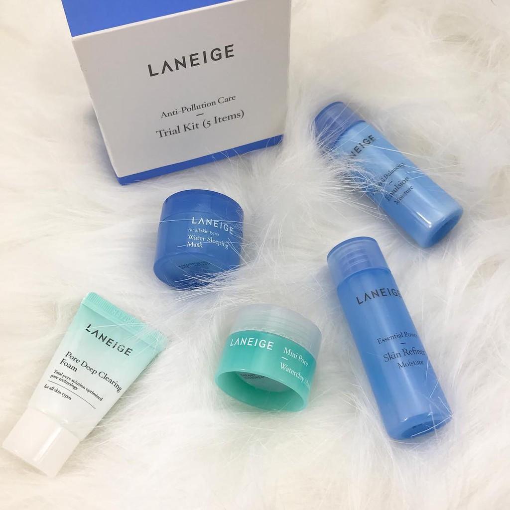 Kit 5 sản phẩm cấp nước, giảm nhờn, se khít lỗ chân lông Laneige Anti-Pollution Care Trial Kit.