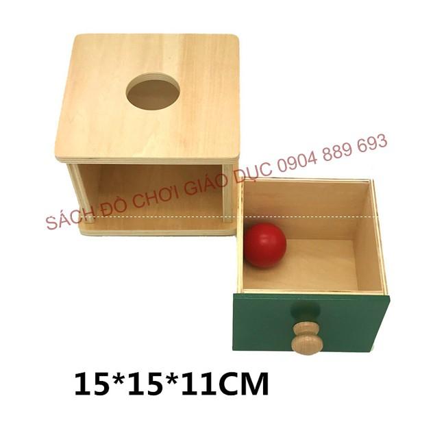 Hộp Imbucare- 1 quả bóng gỗ, thả bóng gỗ vào hộp gỗ vuông - Giáo cụ montessori cho trẻ từ 0 đến 3 tu