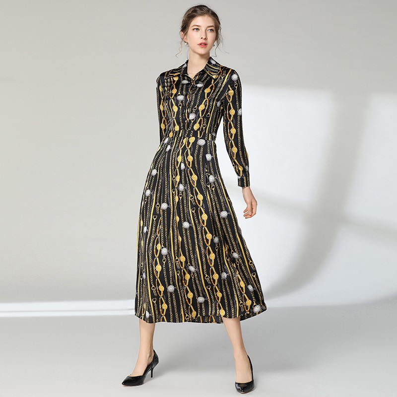 Vintage long skirt Europe and America Women's lapel long sleeve printed waist shirt dress