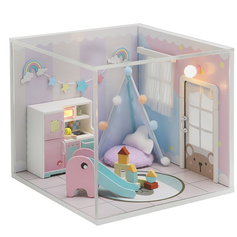 [Giao hàng trong 7 ngày] Nhà búp bê dễ thương tự làm với đồ nội thất, Nhà búp bê thỏ hồng có nắp đậy