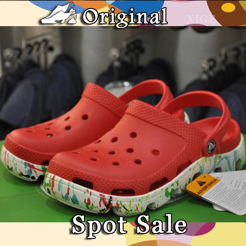 Crocs sports Det men's and women's shoes summer casual sandals and slippers Ka Luo Chi hole shoes thick bottom large siz