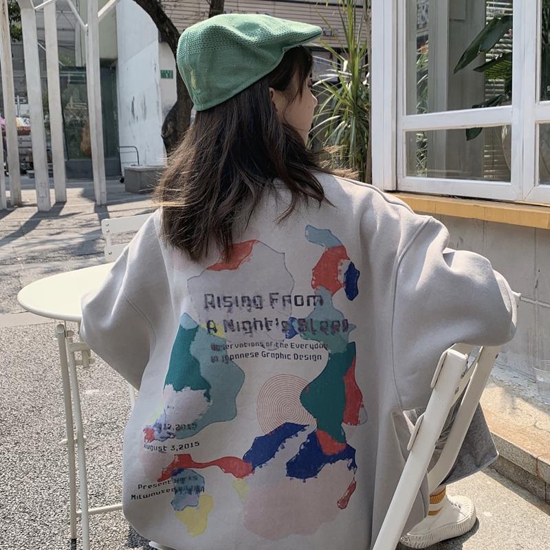 Áo sweater Hàn Quốc dáng rộng cổ tròn in hình ngộ nghĩnh
