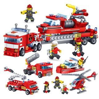Bộ LEGO Xếp Hình Cứu Hỏa, Bộ 4 Hộp Trong 1 : Xe Thang, Xe Phun Nước, Tàu, Máy Bay Trực Thăng