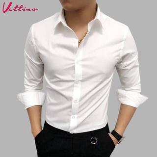 [Mã SKAMSALE8 giảm 10% đơn 200K] Áo sơ mi nam dài tay cổ bẻ dáng ôm Hàn Quốc vải lụa thái cao cấp chống nhăn chống xù