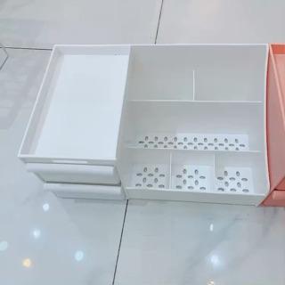Kệ đựng mỹ phẩm đa năng bằng nhựa 3 màu 2 tầng nhiều ô kích thước lớn