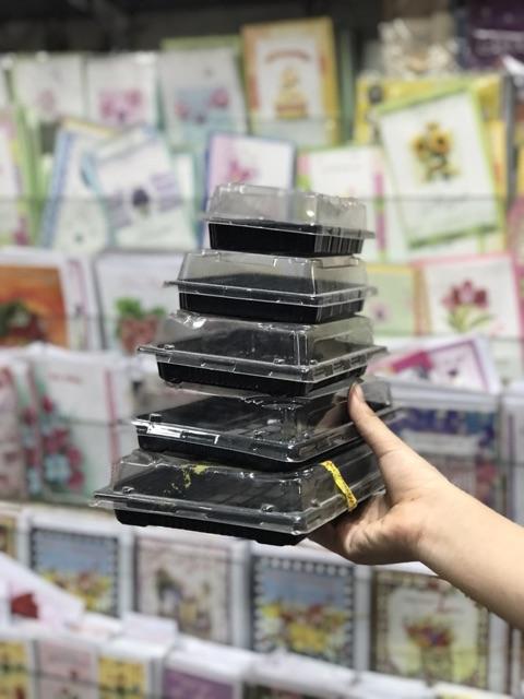 48 - 96 cái hộp nhựa chữ nhật đáy đen nhiều cỡ đựng salad, thức anh và bánh