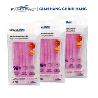 [Mã FMCGMALL - 8% đơn 250K] Combo 3 túi khẩu trang y tế cao cấp kháng khuẩn 4 lớp Famapro max màu hồng (10 cái túi) thumbnail