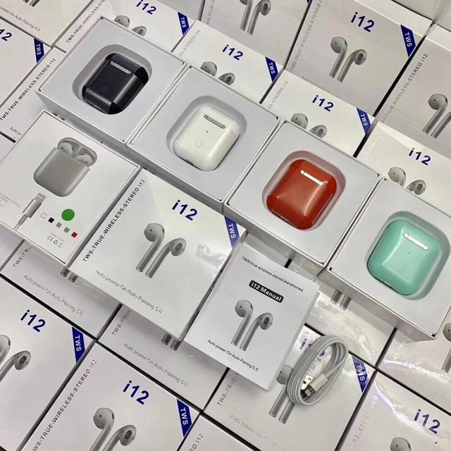 Tai nghe airpod I12S Bluetooth 5.0 Siêu Bass - Tặng vỏ silocon chống sốc