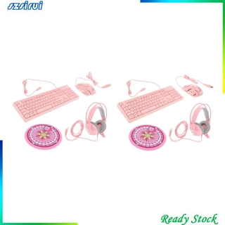 [Ready Stock]104Key Gaming Keyboard and Mouse Combo + Over Ear Headset Mouse Pad for PC