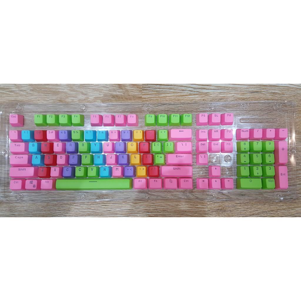 [Tặng nhổ phím xịn] Keycap Rainbow PBT xuyên led doubleshot - nút bàn phím nhiều màu