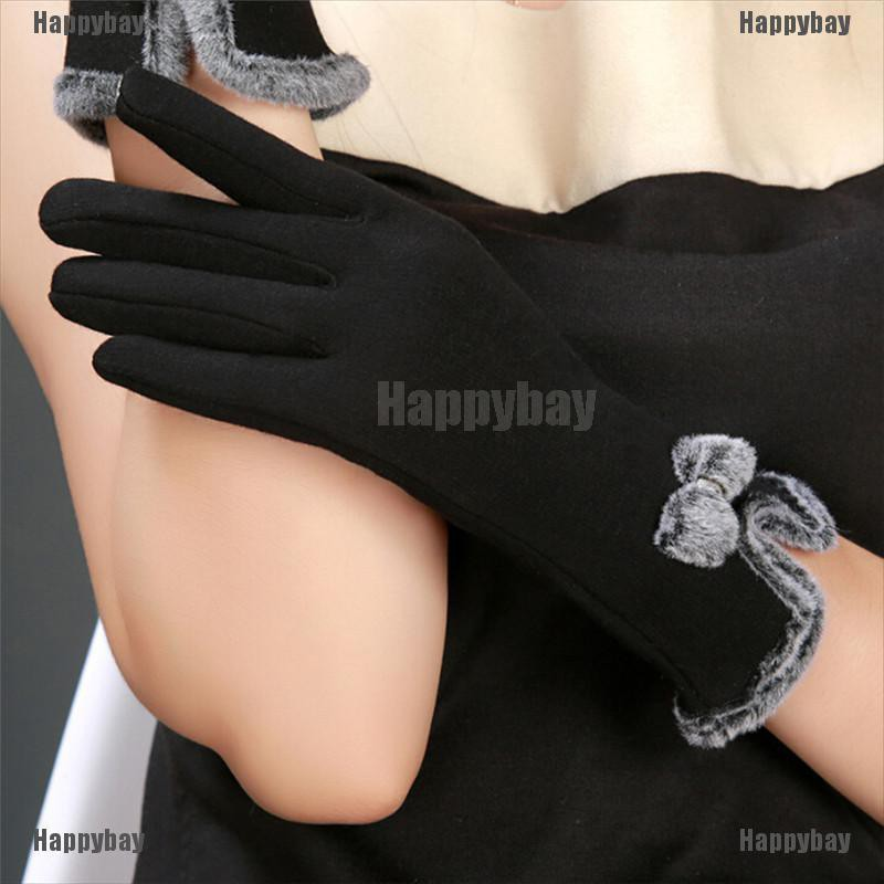 Happybay Women Winter Touch Screen Outdoor Wrist Mittens Heated Gloves New Fashion