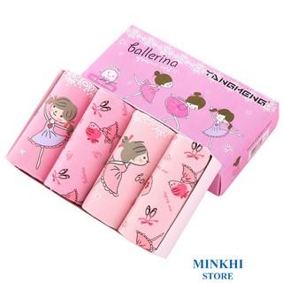 Quần lót bé gái, quần chip bé gái hộp 4 cái MINKHI 126003