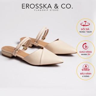 Giày cao gót Erosska thời trang mũi nhọn hở gót cao 2cm màu nude _ EL004