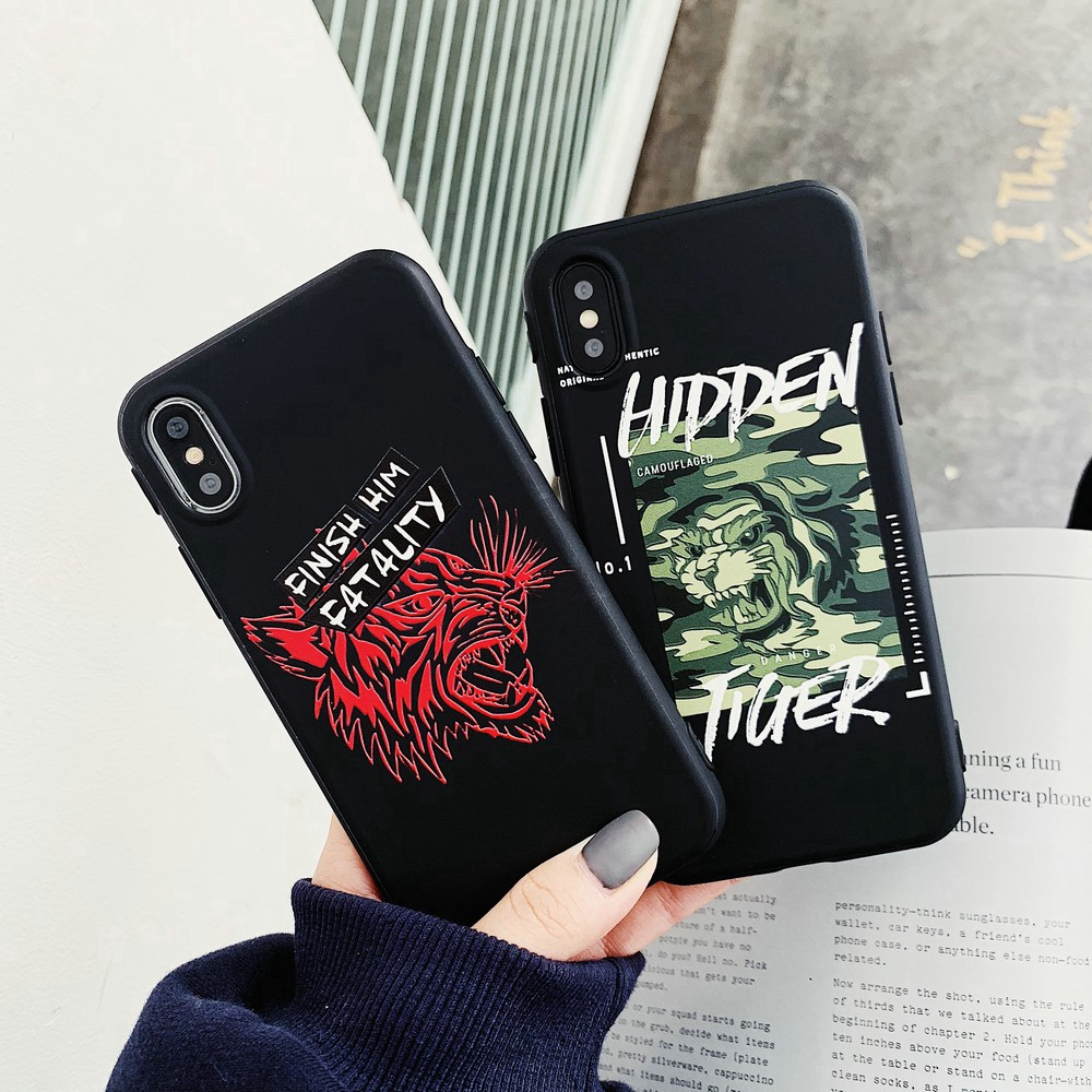 Ready Stock Fashion Relief Tiger Soft TPU Phone Case For iphone6 7 8Plus X XR XS Max